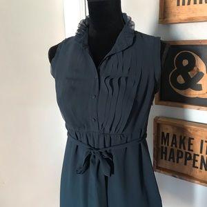 LOFT Ruffle Dark Teal Dress Semi Sheer Petite 4